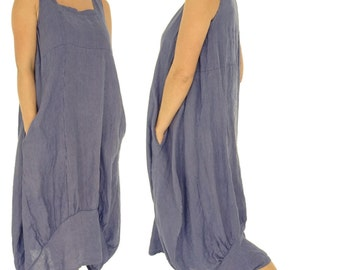 HH700MBL Women's Dress linen tunic Gr. 42 44 46 48 50 52 Medium Blue