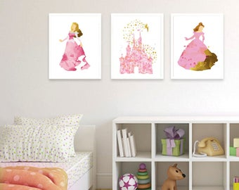 Disney Princess - Set of three prints -  Nursery Set - Gift - Gold - Baby Gift - Adult gift - Animation