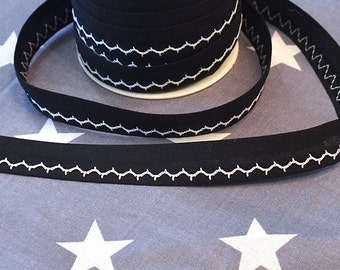 Ribbon embroidered black and white
