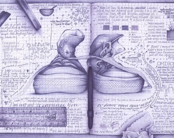 Half Price. Converse Ballpoint Illustration Print. Schooldays Exercise Book revisited.