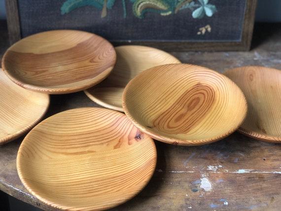 Vintage Scandinavian hand turned wooden plates handcrafted in Sweden