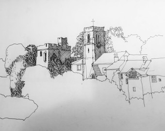 Original pen and ink drawing, Yorkshire dales, landscape 1830