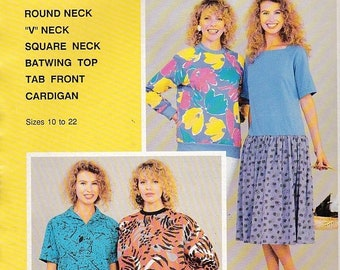 ON SALE 1980's Sewing Pattern - BevKnits 2200 Ladies Raglan Knit Tops  Size 10-22  Factory folded and complete