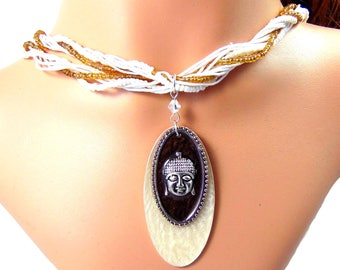 Zen Buddha pendant necklace on these seed bead threads