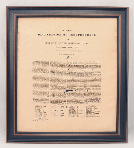 Framed Texas Declaration of Independence. Free Shipping