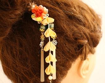 Kimono Accessories, Japanese Hair Accessories, Kanzashi Hair Clip, kanzashi hair flower, kanzashi hair clip, kanzashi hair clip for kimono,