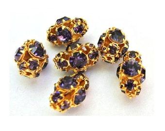 2 SWAROVSKI Vintage Perlen lila Kristallen in GOLD geflochten Metallfassung seltene Form echte 1100 hergestellt in Österreich