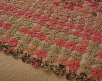 """Vintage Handmade Yoyo Quilt Top Pastels, Pinks, Corals, Greens, Calico, 108"""" x 72"""" Unlined Coverlet"""
