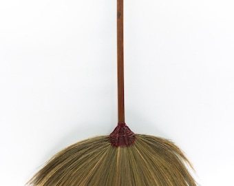 Brooms Flower Grass Solid Wood Brown Handle 100% Handmade Hand Grip Nylon with Magic Glue Between Handle and Sweeper Grass without loosing