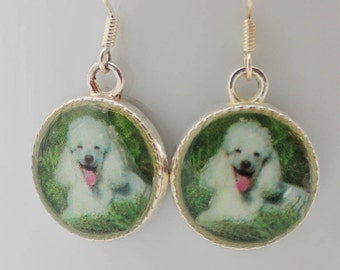 Poodle Earrings 3D Dog Puppy Jewelry Pet White Dimensional