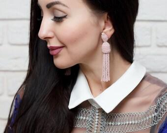 Jewelry Pink beaded earrings tassel Oscar de La Renta Style women earrings stud earrings Beadwork jewelry Dangle earrings Oscar tassel