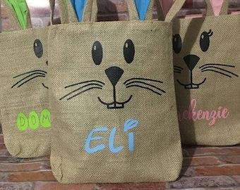 personalized Burlap Easter Bunny Bag