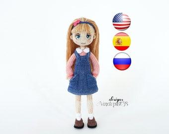 Pattern Doll Anita, amigurumi crochet doll, crochet doll pattern, amugurumi pattern, pdf pattern