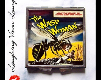 Classic Horror Compact Mirror - Pill Box - Wasp Woman Monster Movie Poster - Pill Case - Makeup Mirror - Purse Mirror