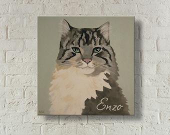 Custom Cat Painting | Custom Pet Portrait | Pet Memorial | Hand Painted | Cat Portrait | Painting From Photo | Gift for Cat Lover