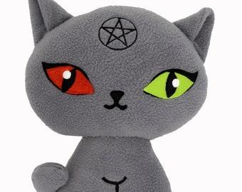 Supernatural cat plushie kawaii soft toy pillow cushion handmade pentagram Gothic vampire Halloween cute scary demonic satanic witch