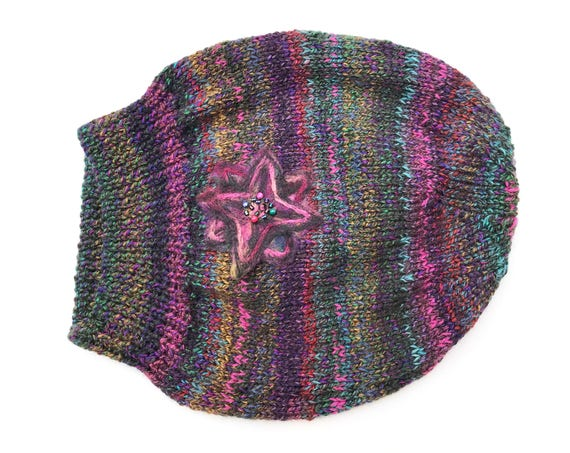 Stargazing Slouch Hat - Dark Slouch Hat with multicoloured stripes and flashes - Dark slouchy hat, multicoloured dark hat with star flower