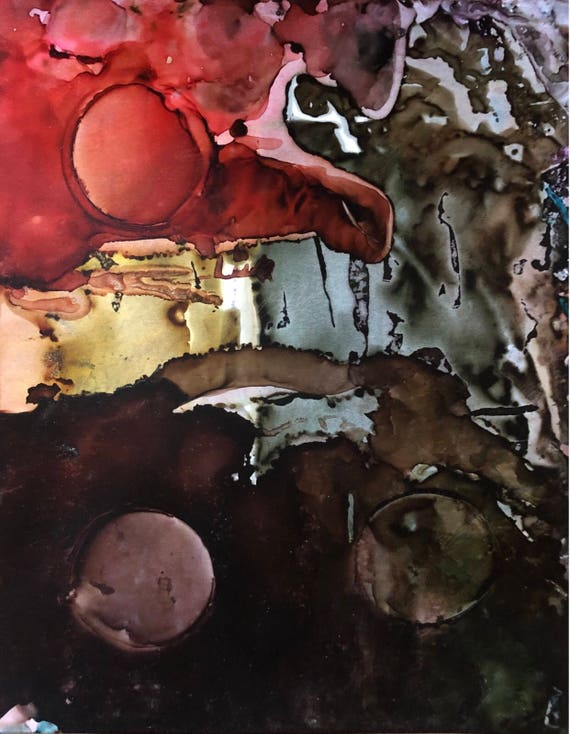"""Original Alcohol Ink Abstract Painting: """"Pending"""" (11"""" X 14"""")"""