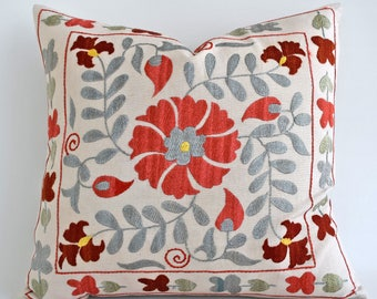 SALE 30% Hand Embroidery Silk Suzani Pillow, Red Blue Beige Suzani Pillow Suzani Pillow Cover Decorative Pillow, Throw Pillow, Accent Pillow
