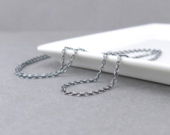 Sterling Silver Chain Necklace 2.1mm Flat Cable Oxidized Medium Weight Silver Chain Interchangeable for Add On Pendants and Charms