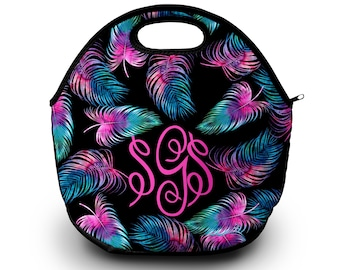 Monogram Lunch Bag | neon Palm Leaf | Lunch Bag | Gift For Her |  Lunch Bag for Women