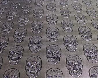 fabric PVC nappa skull silver bright leatherette anthracite