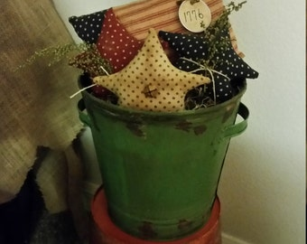 patriotic Americana primitive Flag and stars ornies,Independence Day shelf sitters, July 4th bowl fillers, OFG, FAAP,stars an stripes tuck