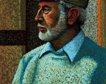 Bearded Man Fine Art Print, Giclee Print, Portrait of a Man, Peter, Man In A Cap, Pastel Painting By Jan Maitland, Art Print, Portrait,