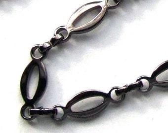 Gun Metal Silver Plated Oval Chain- 3 feet