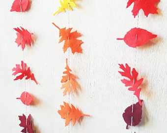 Fall Leaf Garland No Green Vertically Hanging