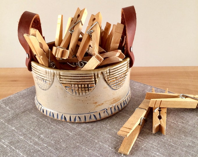 Featured listing image: Small Ceramic Basket with Leather Handles