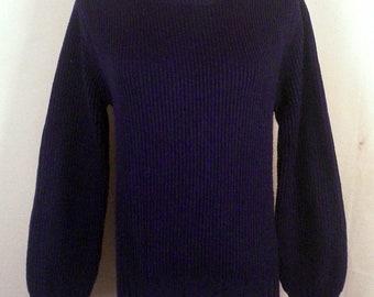 vtg 70s E.V. Ltd. ladies Blue/Cinnamon Military Style Sweater padded elbows SZ S