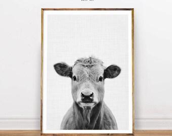 Cow Portrait, Farm Animal Print, Nursery Animal Prints, Animal Portrait, Nursery Decor, Cow Print, Digital Print, Instant Download