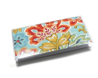 Checkbook Cover Bright Ikat Paisley