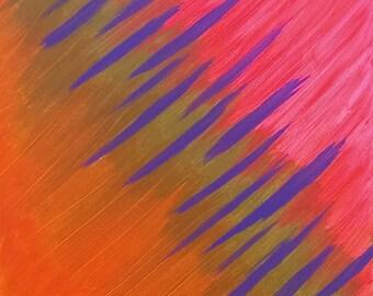 Rose, beige, Orange, Violet acrylique peinture abstraite originale sur toile «Série 7 C», Art moderne, Art contemporain, décoration d'intérieur, Art de Las Vegas