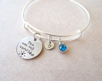 You are My Sunshine Bracelet, sunshine bracelet, bangle bracelet, you are my sunshine, wire bracelet, wire bangle, best friends, valentines