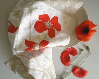 Pure Linen, Poppies Tea Towel, Red Poppy Print, Poppy Flowers, Mothers Day Gift, Thank You Gift, Christmas Gift, Red Flowers, Mothers Gift,