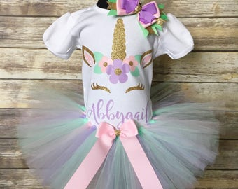 Unicorn tutu set | Birthday outfit | Little girls pastel unicorn shirt | Unicorn Outfit