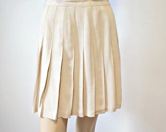 Vintage Pleated Skirt Beige 1980's Ellen Figg School Girl Preppy Size 10