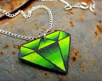 tattoo style bright lime green emerald peridot charm necklace august birthstone