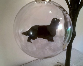 King Charles Spaniel in Snow Pet Bauble