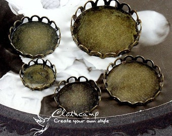 20pcs 10mm 12mm 15mm 18mm 20pcs 20mm 25mm Antique bronze Plated Lace Edge Cabochon Setting Base frame  (SETHY-190-195)