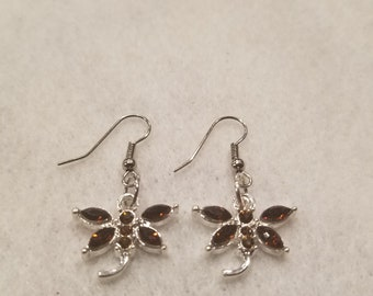 Brown dragon fly earrings