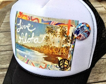 Trucker Hats, ALOHA, limited ed. with custom made Pin Back button, One Size Fits All, black foam trucker hat, Hawaii, Aloha, Best Seller