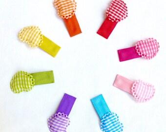 Rainbow Hair Clips. Toddler Hair Clips. Girl Hair Accessory. Infant Snap Clip. Set of 8 Snap Clips.