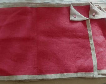 Set of 2 Sets of TABLE linen red and beige trim