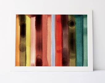 Watercolor Stripe in Warm Palette - Fine Art Print