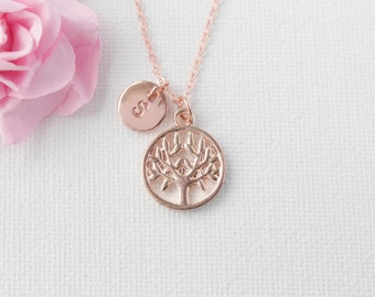 Rose gold Tree Necklace, Personalized Tree of life Necklace, gift for mothers day, rose gold Tree Pendant, Tree Jewelry, s, mothers day gift