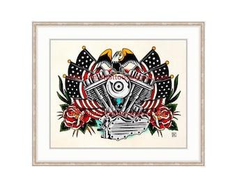 "Harley Davidson Vintage Panhead 11""x14"" Giclee Print. Motorcycle Engine. Rose Tattoo Flash. Vintage Bike. Bald Eagle. Americana. Biker Art."