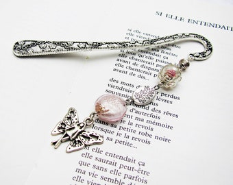 Bookmark fairy charm, bookmark metal bookmark, fancy beads brand book, bookmark, book, gift idea for woman